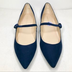 MARC FISHER STORMY2 NAVY BLUE MARY JANE FLATS 8.5